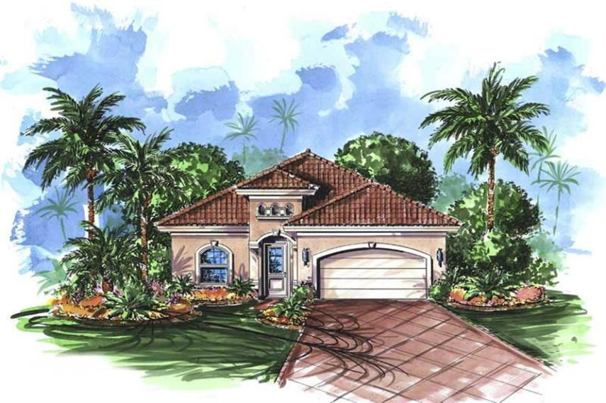 Mediterranean House Plans   Home Design TRINIDAD   11498  175 1046      3 Bedroom  2165 Sq Ft Florida Style House Plan   175 1046