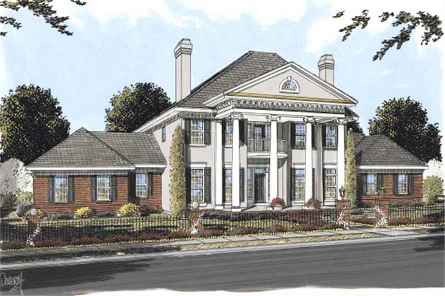 Colonial House Plans   Southern Home Design DB 24192   11756 4 Bedroom  4166 Sq Ft Southern Plan with Walk in Pantry