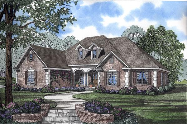 Traditional House Plans   Traditional Floor Plans   Designs This traditional home in the French style boasts 4 bedrooms  a 3 car garage  and
