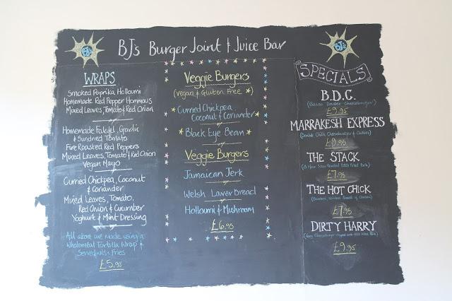 BJs menu Cardiff