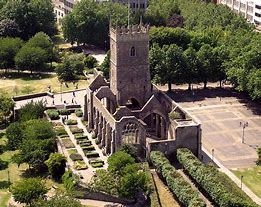 The shell of St. Peter's chuch in Castle Park