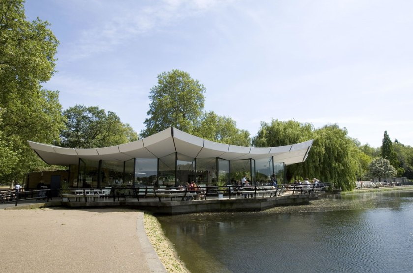 The cafe has indoor and outdoor seating and overlooks the water.