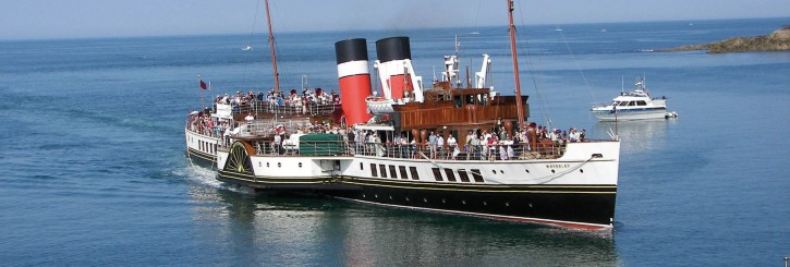 The paddlesteamer at sea.