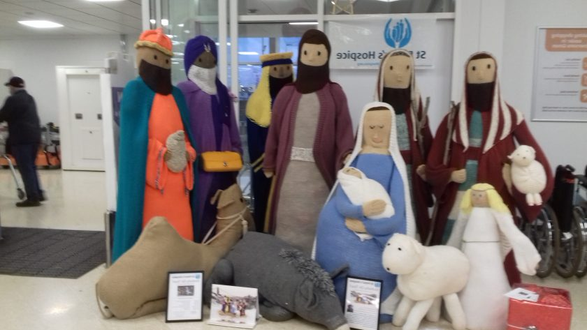 Life size knitted nativity figures ~ Bristol knittivity in Sainsbury's