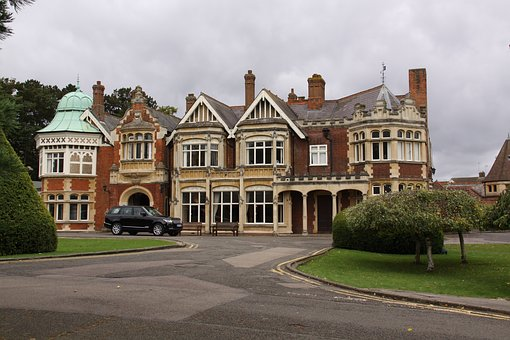 The large red brick mansion at Bletchley Park.