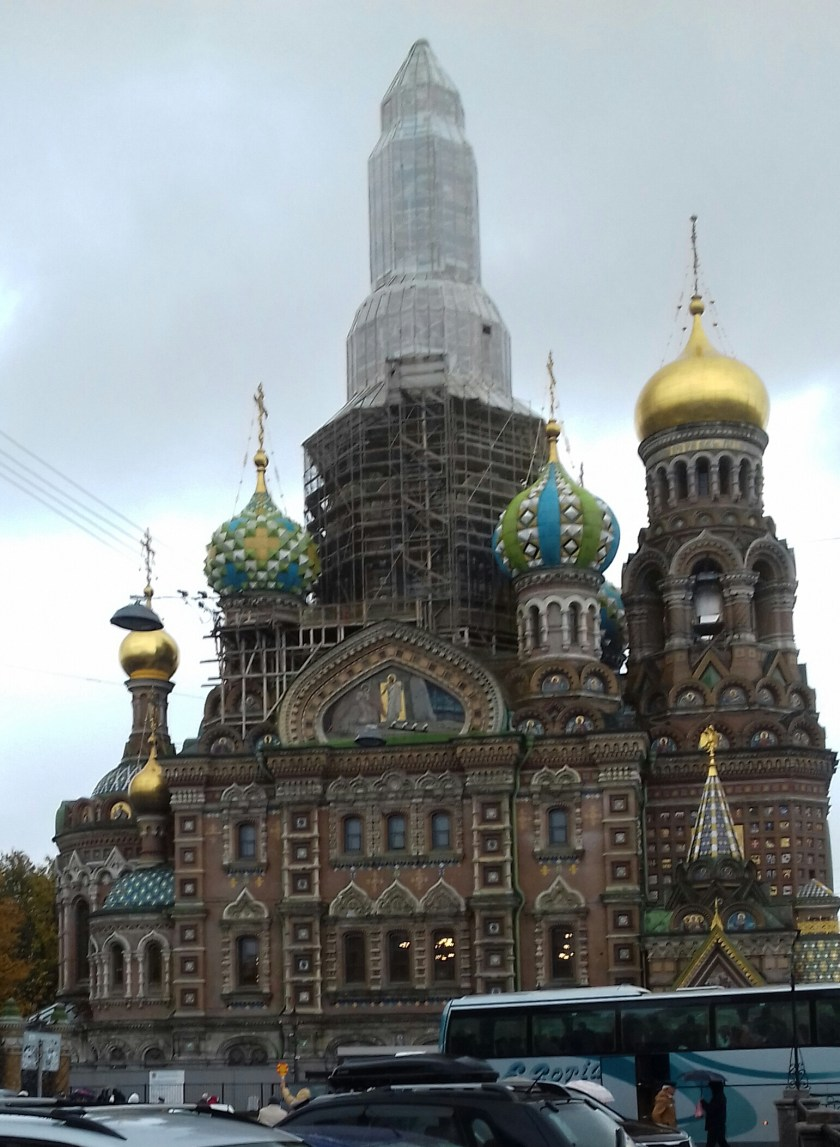 The church of the Saviour of the spilled blood ~St. Petersburg. It is currently covered in scaffolding
