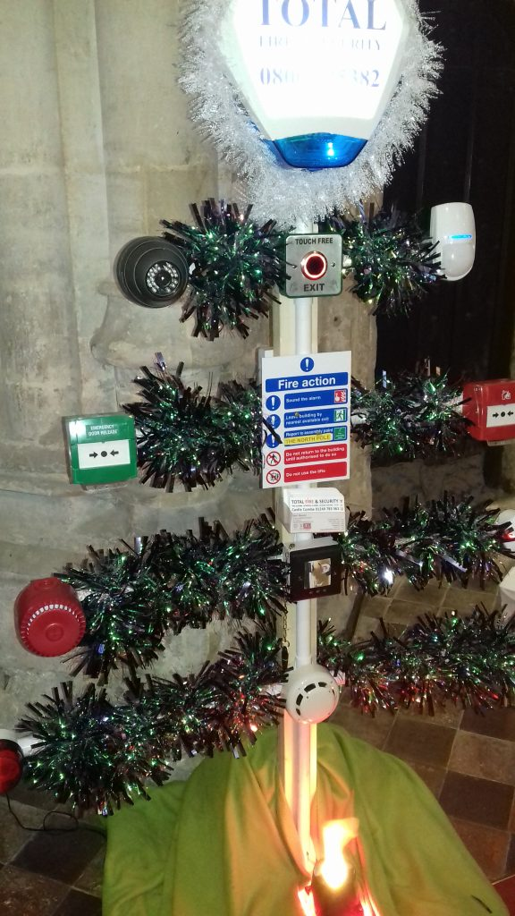 Tree with fire extinguishers