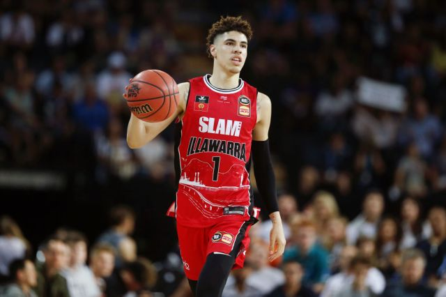 AUCKLAND, NEW ZEALAND - NOVEMBER 30: LaMelo Ball of the Hawks in action during the round 9 NBL match between the New Zealand Breakers and the Illawarra Hawks at Spark Arena on November 30, 2019 in Auckland, New Zealand