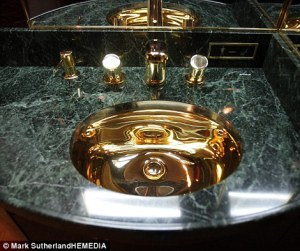 Trumps glod jplated bather sink in the 757 private jet