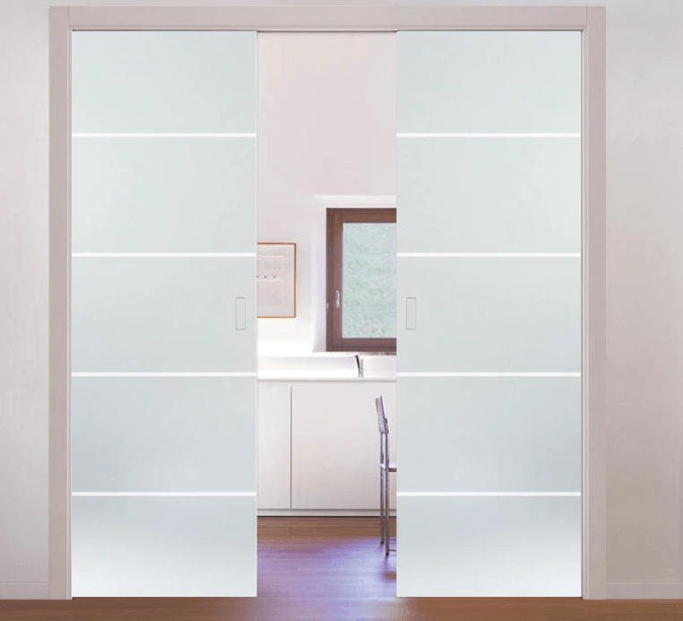 eclisse pocket door system classic patterned double glass