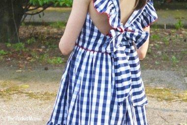 fiocco vestito vichy blu aiana larocca