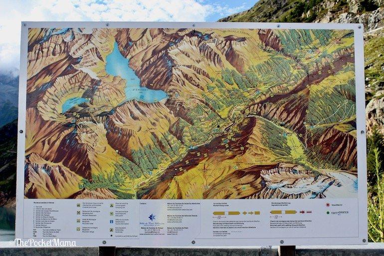 mappa dei sentieri dal lago di Emosson