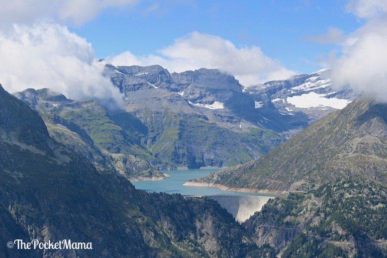vista del lago Emosson dal Col de Balme