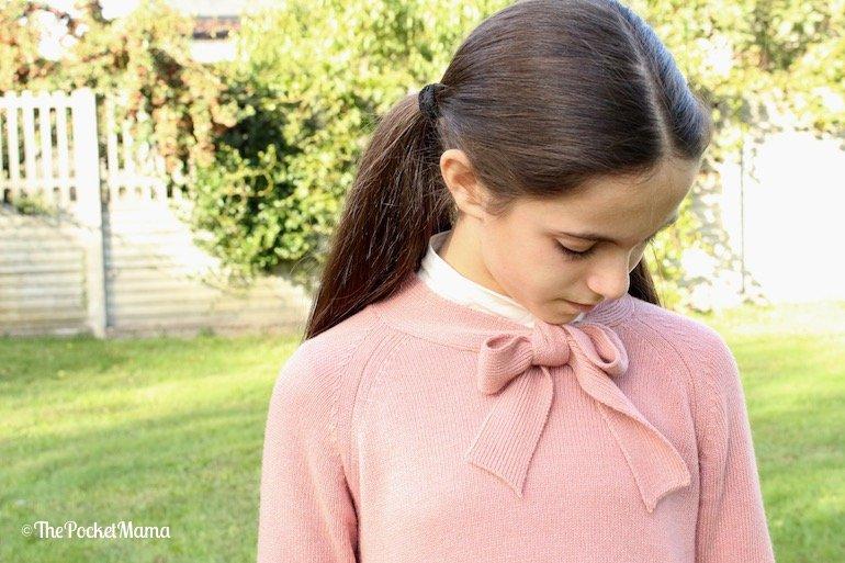 maglia viaelisa con fiocco sul collo