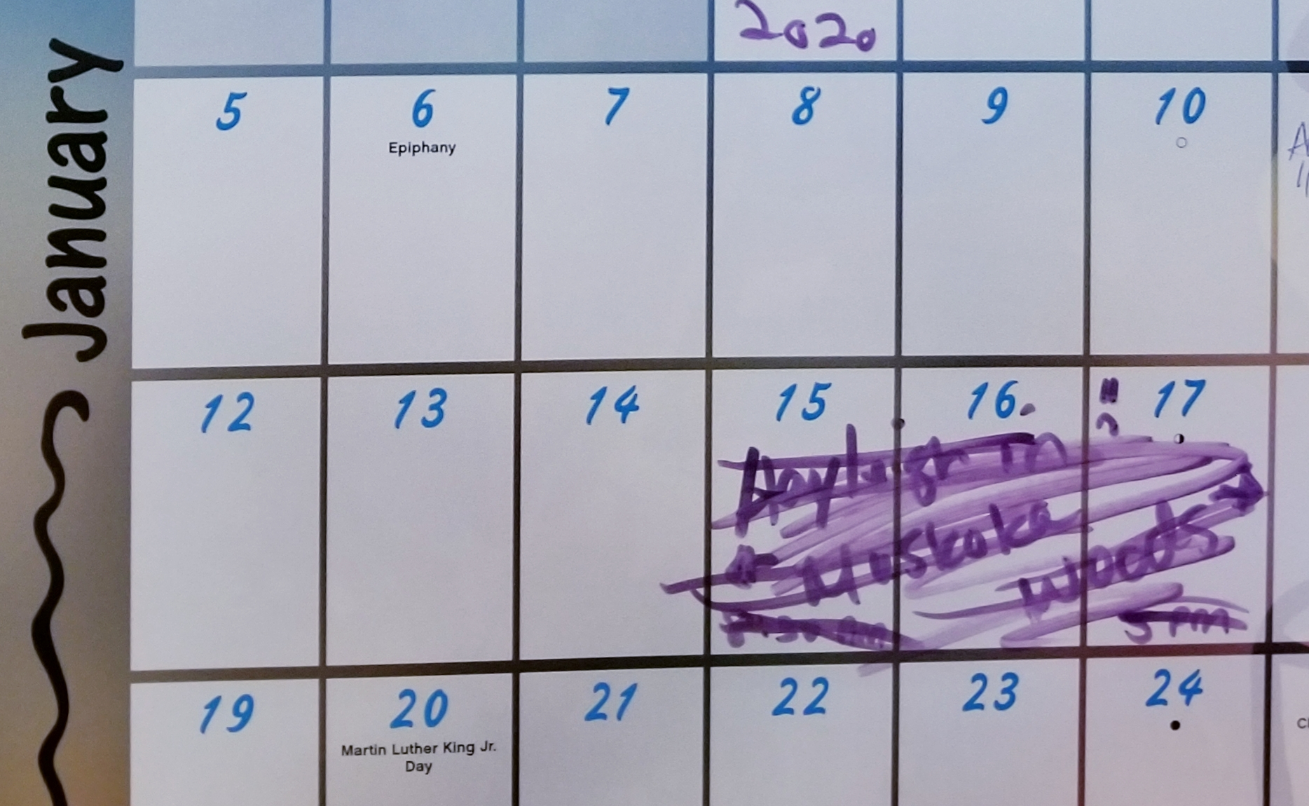 Calendar showing cancelled trip dates.
