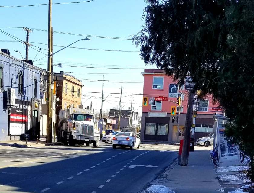 Corner of Cannon and Ottawa a truck mounts the sidewalk.