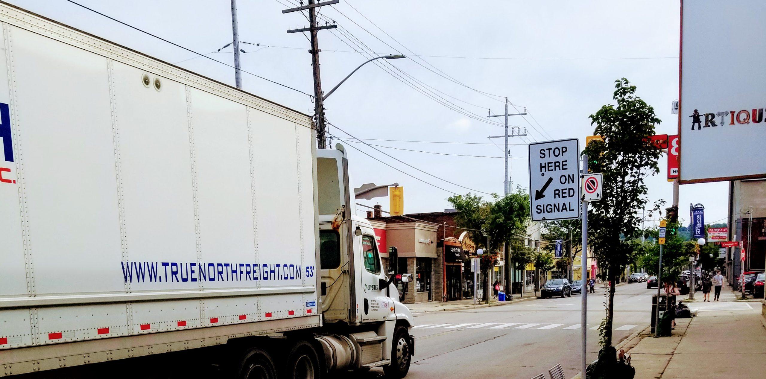 Transport truck southbound on Ottawa Street