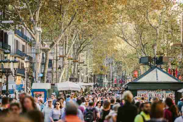 La Rambla in Barcelona, Spain. (Photo by visualspace/Getty Images)