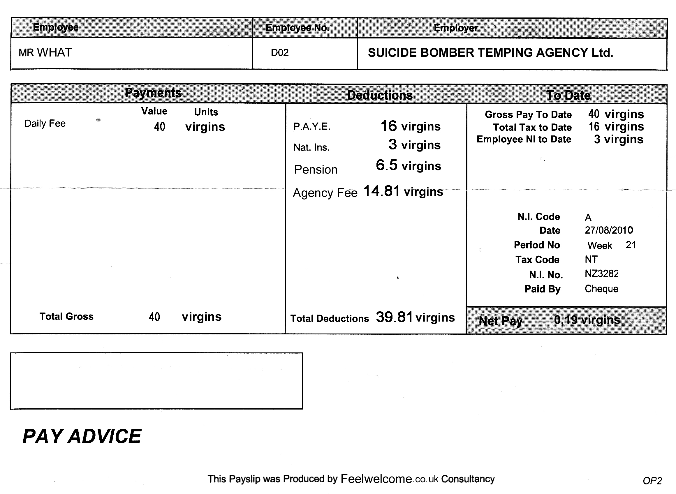 Payslip Template Word service manager resume sample – Sample of a Payslip
