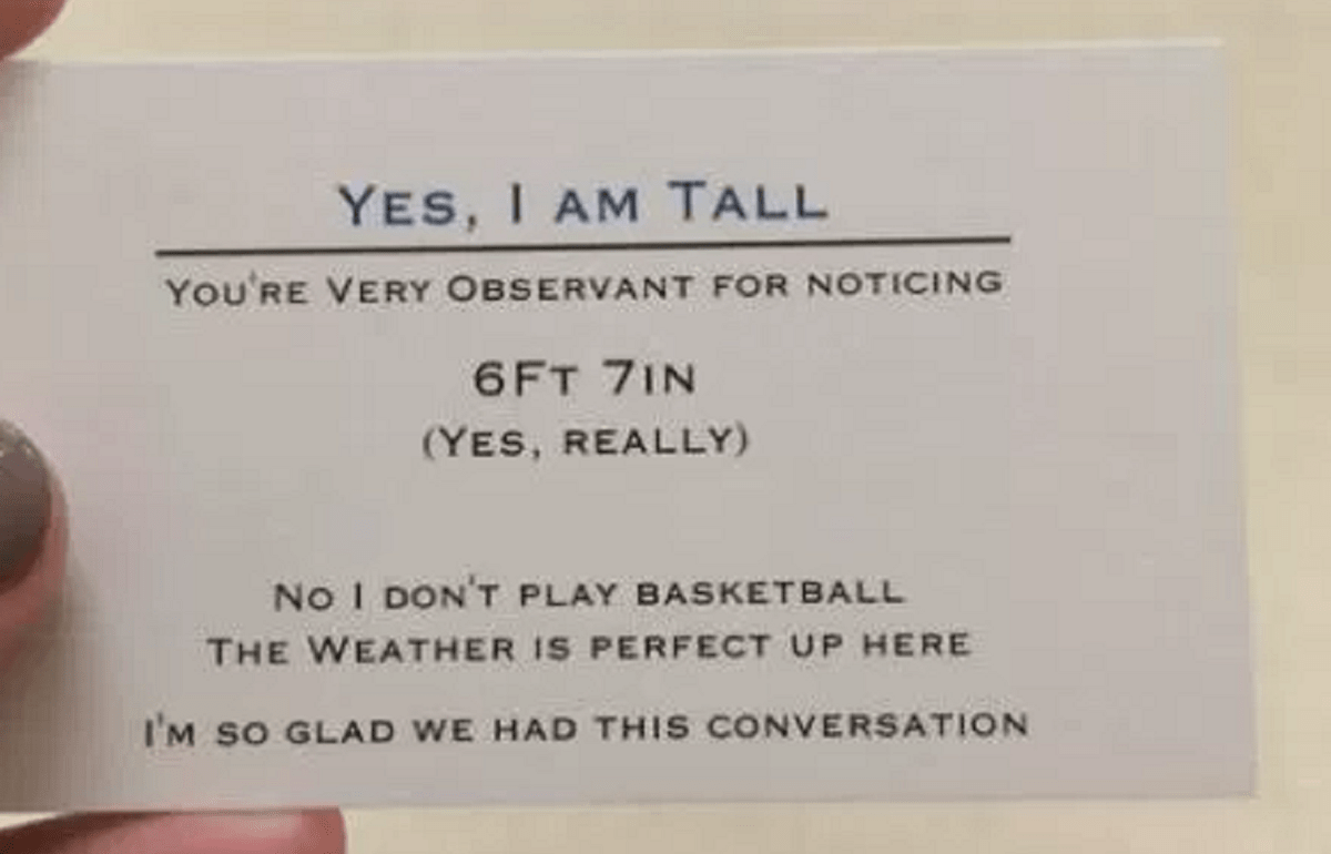 A 67 Tall Teen Has Made A Business Card To Hand Out To