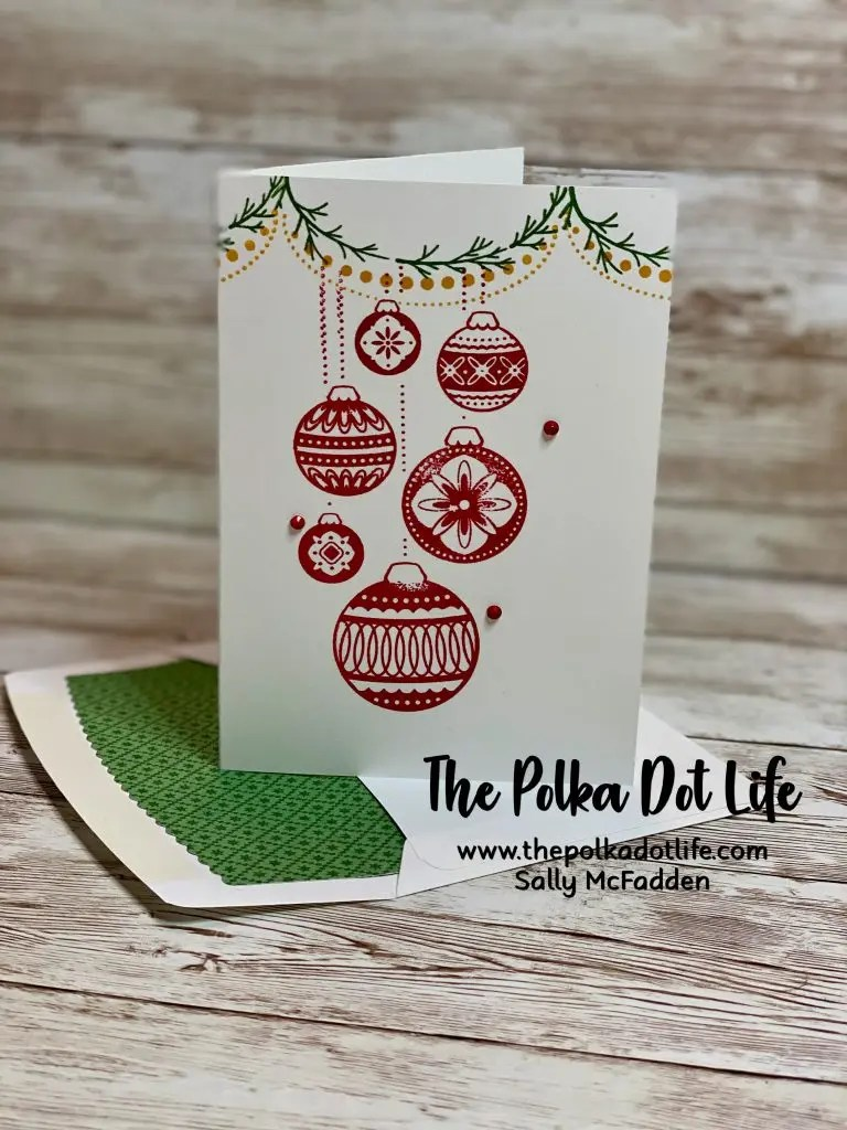 A notecard with an envelope liner made with the Ornamental Envelopes Bundle by Stampin' Up.