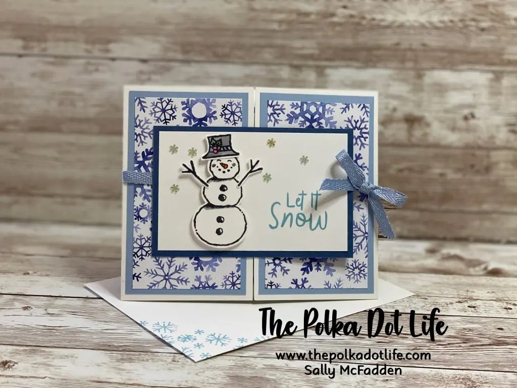 A greeting card using the Snowflake Splendor DSP by Stampin' Up.
