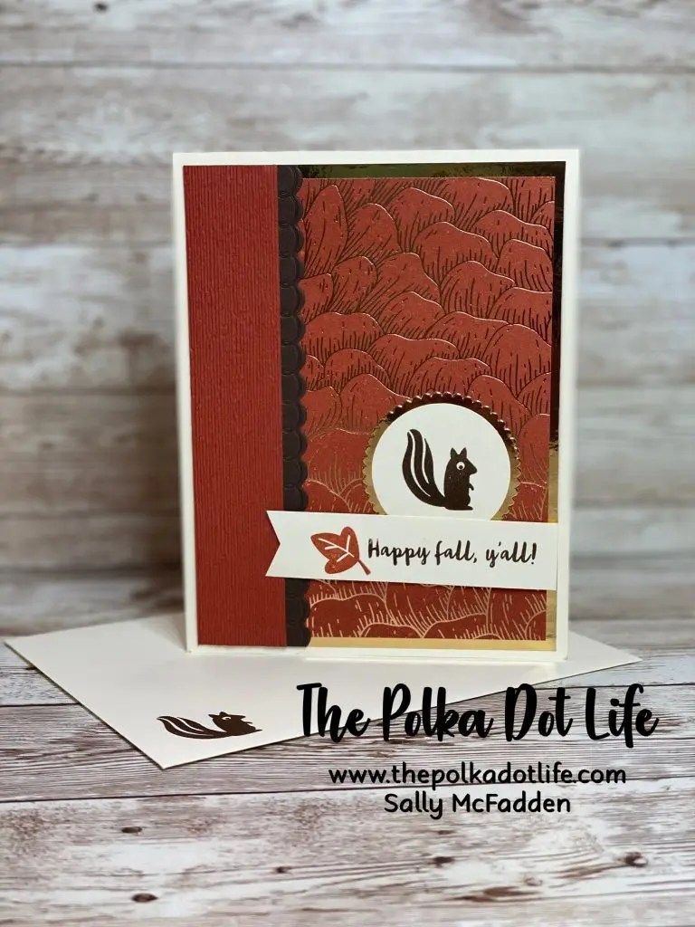 The Gilded Autumn Designer Series Paper from Stampin' Up is featured in this card.