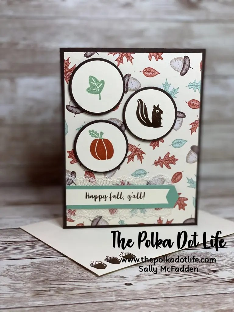 A greeting card on Early Expresso cardstock.  It has images of a squirrel, an acorn, and a pumpkin on the front.