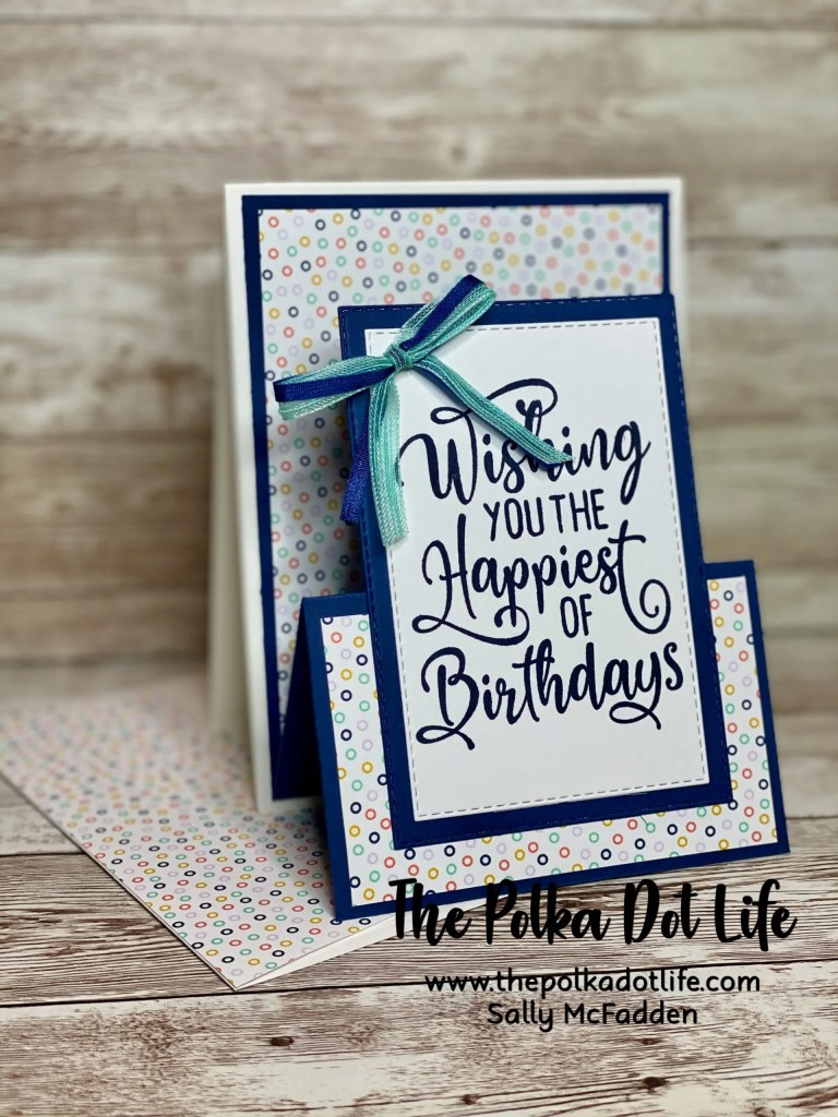 A birthday card that is navy blue and white. It features Stampin' Up products.
