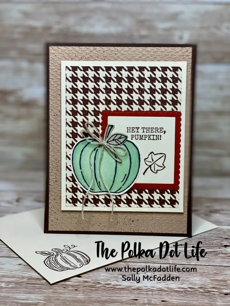 A greeting card with an Early Expresso base.  It has layers of Very Vanilla, Cajun Craze, and Early Expresso Houndstooth.