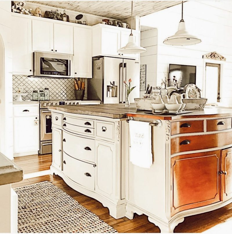 DIY Kitchen Island using re-purposed furniture makes for a unique and one of a kind island.