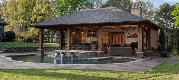 outdoor patio living areas Inground pools, Above ground pools, Outdoor Living, Pool