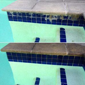 calcium on swimming pool tiles remove