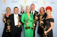 American Horror Story: Jillian Erickson, Mike Mekash, Eryn Krueger Mekash, Christopher Nelson, Lucy O'Reilly and Kim Ayers backstage at the 2015 Creative Arts Emmys