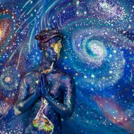 space and stars fine art bodypainting