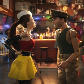 Nicol (LESLIE MANN) dances with Cap'n Hogie (STEVE CARELL) in Welcome to Marwen, the miraculous true story of one broken man's fight as he discovers how artistic imagination can restore the human spirit.