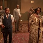 "Ma Rainey's Black Bottom (2020): (L to R) Chadwick Boseman (""Levee""), Dusan Brown (""Sylvester""), Colman Domingo (""Cutler""), Michael Potts (""Slow Drag""), Viola Davis (""Ma Rainey""), Glynn Turman (""Toldeo"") Cr. David Lee / Netflix"