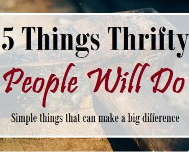 5 things thrifty people will do
