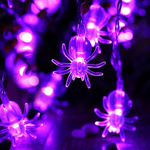icicle 2 pack battery powered spider string lights 20 led 951ft halloween decoration lights purple
