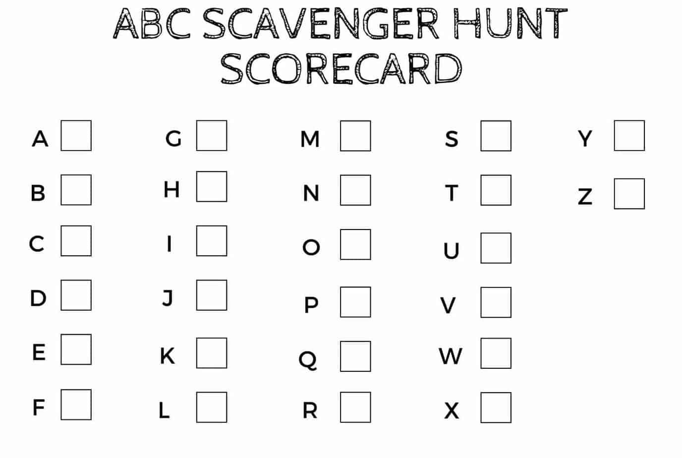 Abc Letter Recognition Scavenger Hunt Game For Preschoolers