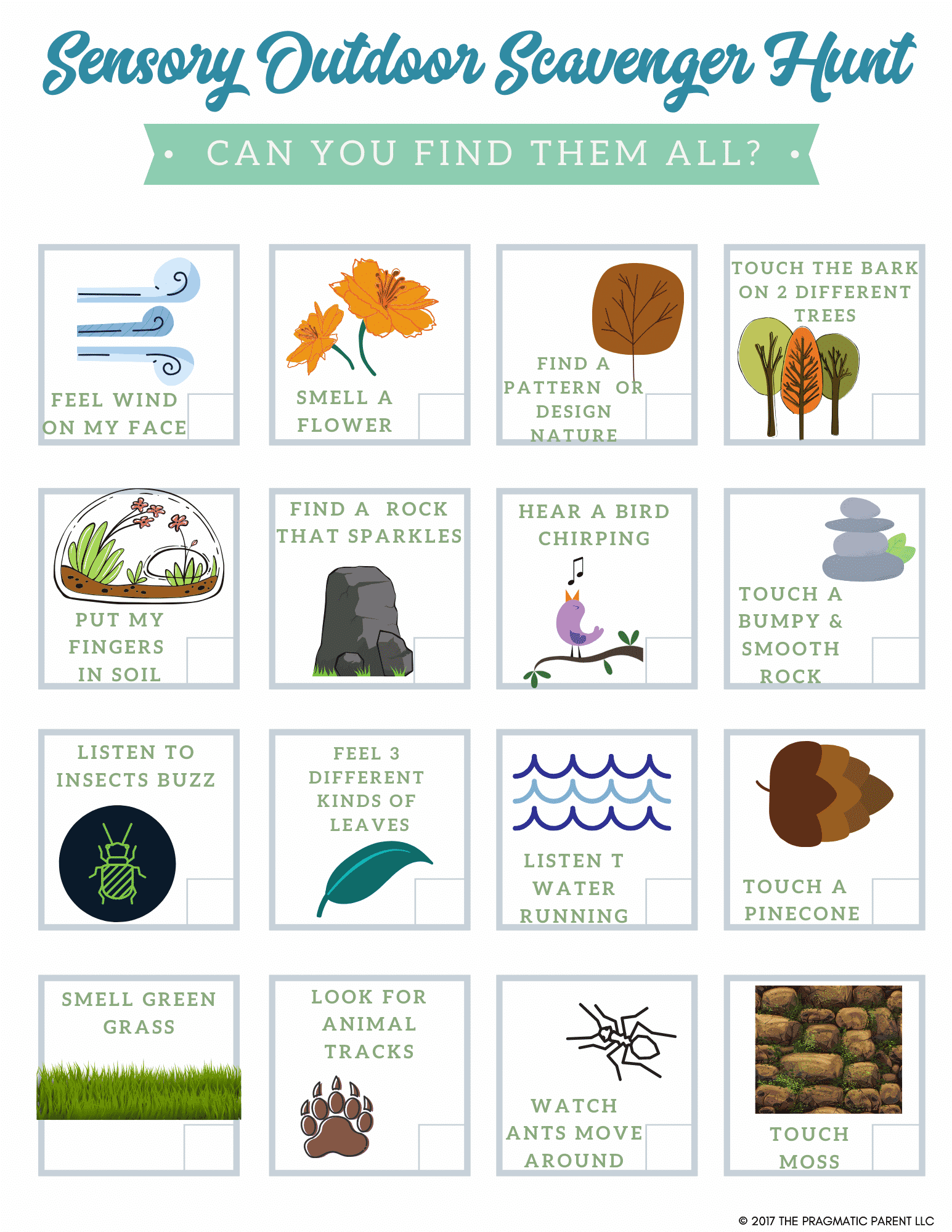 Explore The Outdoors Sensory Scavenger Hunt For Kids