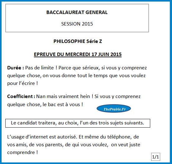 Sujet du bac philo 2015, page 1. ThePrairie.fr