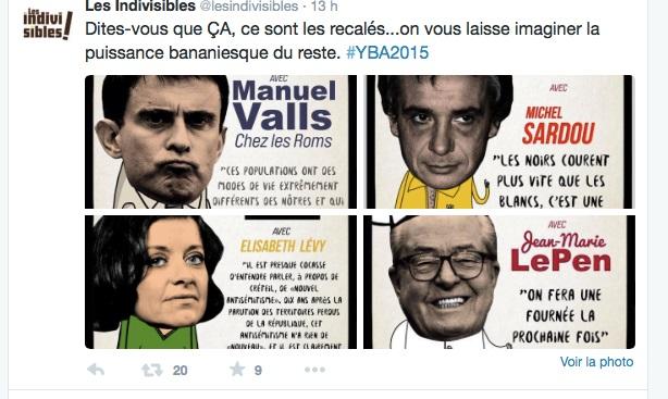 Y'a Bons Awards 2015 - Recalés : Valls, Sardou, Lévy, Le Pen.