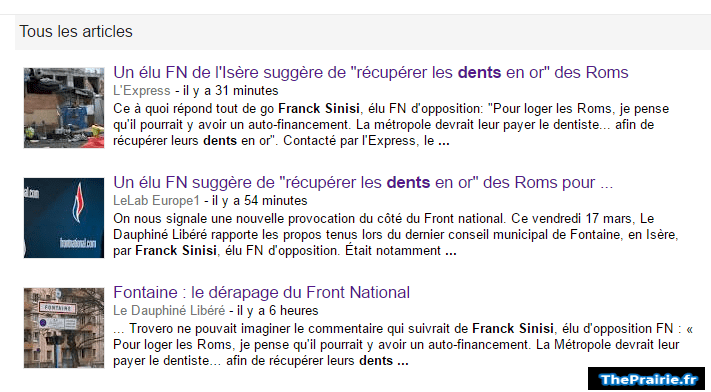 Franck Sinisi et dents en or sur google actu - ThePrairie.fr !