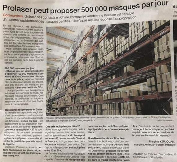 Prolaser - 500 000 masques par jour
