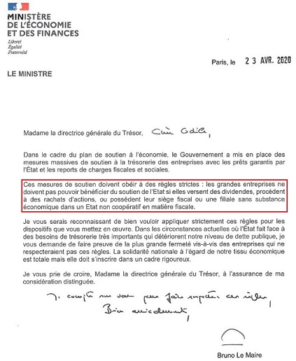 Circulaire Bruno Le Maire