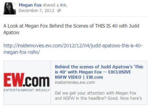 Megan Fox Facebook page