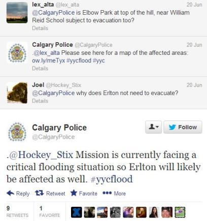 Calgary Police tweeted flood updates
