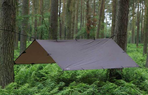 Tarps or rain fly's are lighter options than a tent and take up less space.