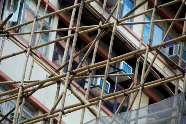 Bamboo scaffolding allows you to build a framework that is light yet strong.